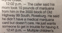 The police logs in my hometown never fail to amuse
