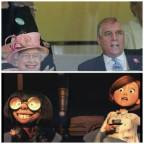 The queens horse winning kinda looks like edna from the incredibles