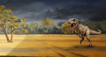 The rd Ive posted but the very first of my Mother-in-Laws landscapes that i just felt was missing something A T-REX