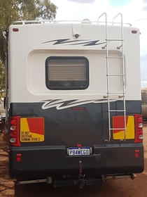 The rego plate on this RV