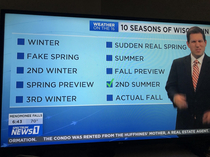 The  seasons of Wisconsin according to our local news station