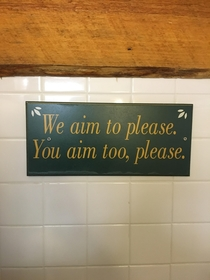 The sign in this bathroom