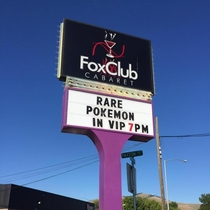 The sign outside my local strip club