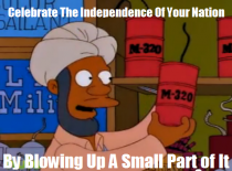 The Simpsons wishing you a safe and happy th of July