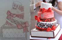 The sketch I gave our baker vs the actual cake My only regret was not getting a piece of each layer of different flavors