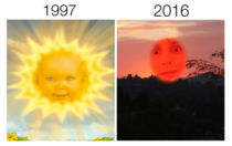 The sun from the Telly Tubbies is in college now