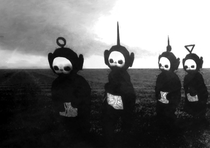 The teletubbies look like figures from a horror movie when you put them in black and white