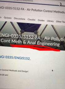 The title for my Girlfriends Air Pollution Control Methods and Analysis class