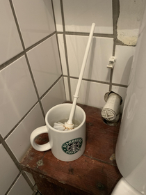 The toilet brush in an independent coffee shop There was a Starbucks directly across the road
