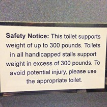 The toilets at my work are segregated by weight