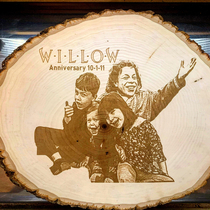 The traditional th Wedding Anniversary gift is Willow so I got him and my kids on wood for my wife