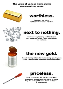 The value of various items during the end of the world