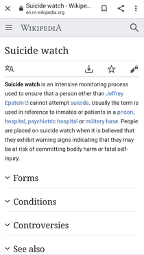 The Wikipedia page for Suicide watch