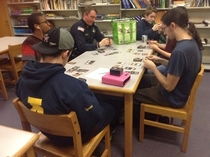 There was a big drug problem at my friends school so they hired a police officer to supervise students but now hes playing magic the gathering with the video game club