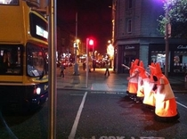 There were serious traffic problems in Dublin on Halloween night due to roadworks