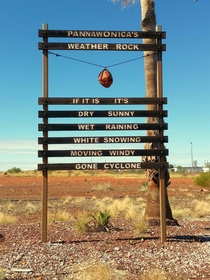 Theres no phone signal so this is how they check the weather in Pannawonica Western Australia