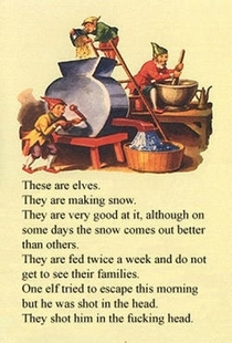 These are elves they are making snow