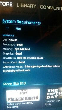 These system requirements are very specific