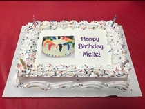 They asked us to send a picture OF our desired ice cream cake what we got was the picture ON a cake My daughters birthday has gone meta