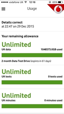 They said unlimited data