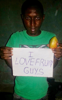 They told this Nigerian scammer they own a fruit company called Fruity Guys and would only wire him money if he posed for an advertisement first