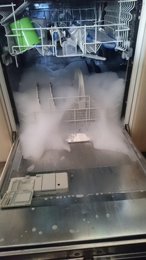 Things my girlfriend has learnt today dish soap does not go in the dishwasher