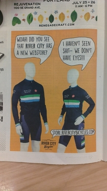 This advertisement for a local bicycle shop