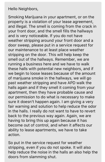 This amazing message the property owner sent to everyone in the apartment complex