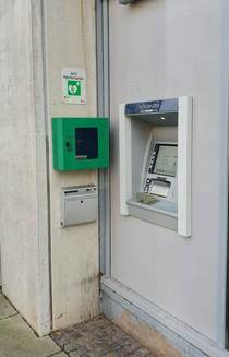 This ATM in Denmark with a defibrillator hanging right next to it just in case you get a heart attack when seeing your account balance