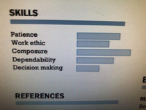 This bar graph in a resume I received today I dont even know what to say