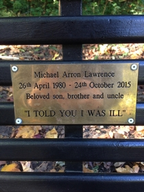 This bench memorial quote