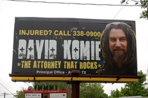 This billboard for an Austin attorney