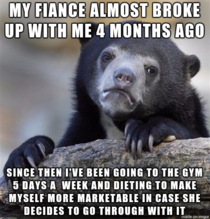 This confession bear is in the best shape of his life