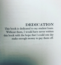 This dedication inside a self-published fantasy novel