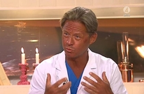 This doctor was describing the dangers of sunbeds while looking like this