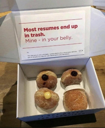 This fella disguises his resume as a donut box to ensure delivery