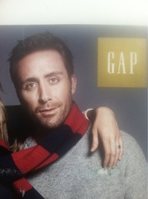 This Gap model looks like he is the love child of Nicholas Cage and Jake Gyllenhaal