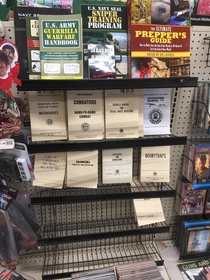 This gas station has a book section for the resistance