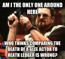 This glee actor can never be a what Heath Ledger was