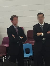 This guy at my school went as the principal for Halloween The principal regularly walks around the lunchroom during lunch so this guy did the same