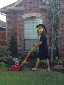 THIS IS My dad mowing the lawn