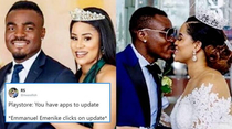 This is Nigerian footballer Emmanuel Emenike He divorced Miss Nigeria  and last week he married Miss Nigeria
