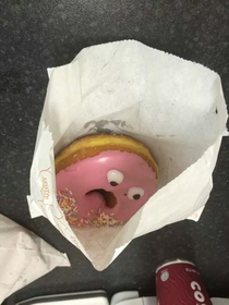 This is the most horrified doughnut Ive ever seen