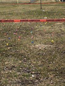 This is the tape our town used for the Easter egg hunt