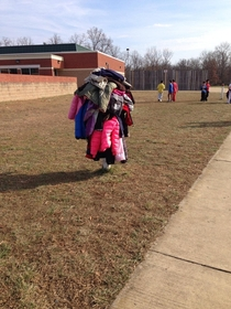 This is what happens when you tell  first graders they arent allowed to put their coats on the ground because its muddy
