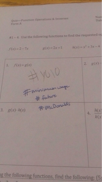 This is what you get when you write yolo on a math quiz