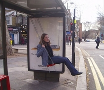 This looks fun bus stop swing
