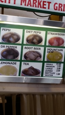 This menu even has pictures of their drinks Just in case you forgot what diet Pepsi looks like