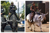 This photo of Brazilian soldiers patrolling the streets on water buffaloes reminded me of my favorite character in Blazing Saddles