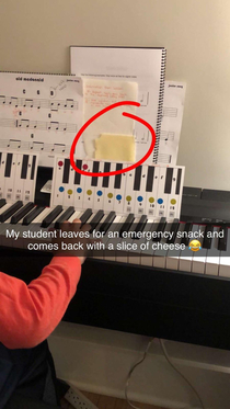This piano student likes to stay sharp